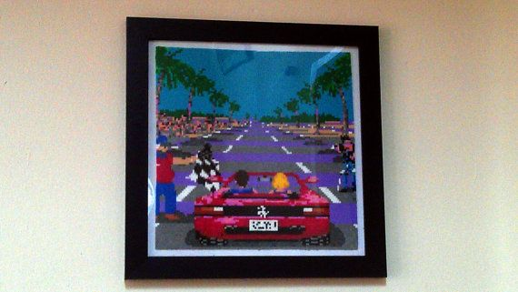 Handmade Framed Outrun Pixel Bead Art. by PixelBeadPictures