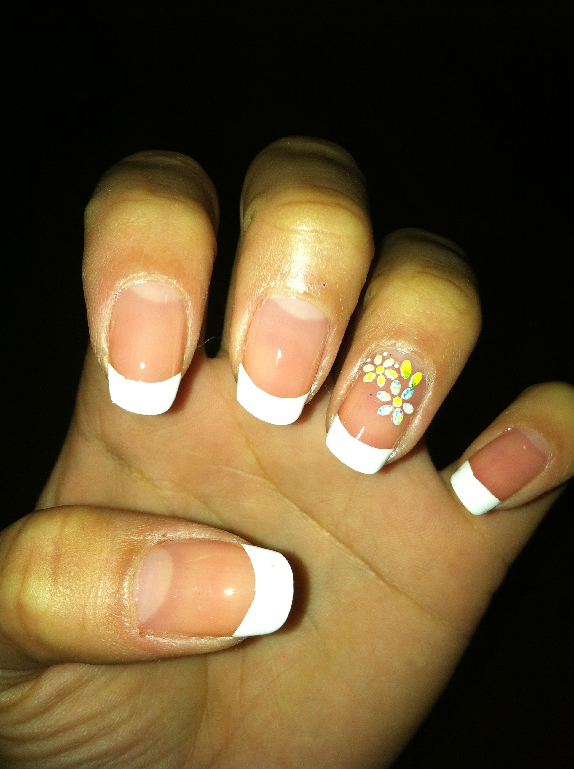 French Tip With Flowers On The Ring Finger Cute Nail Designs In