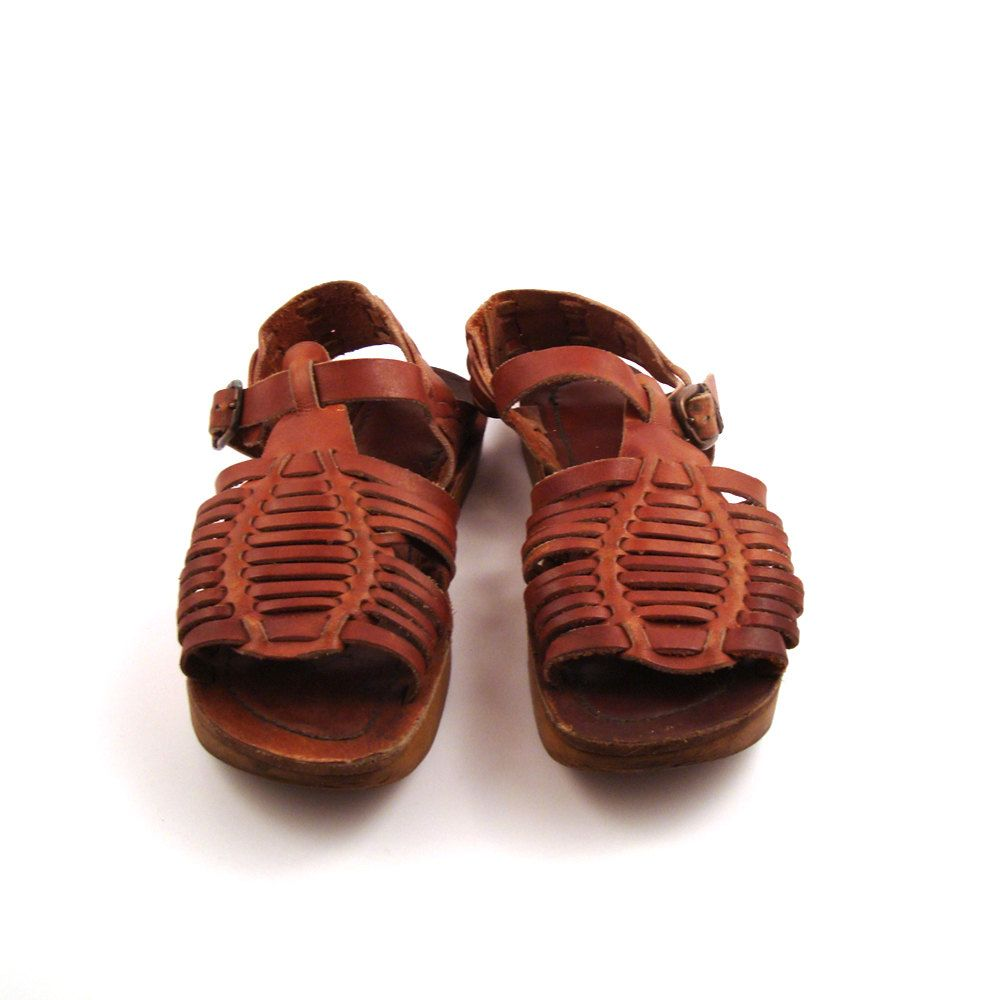 Huaraches woven sandals vintage 1970s leather wedge