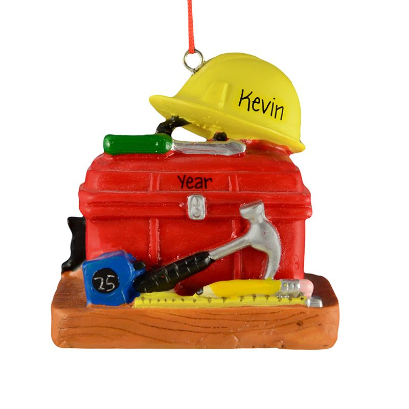 Personalized Construction Toolbox Hard Hat Ornament Personalized Ornaments Tool Box Ornaments