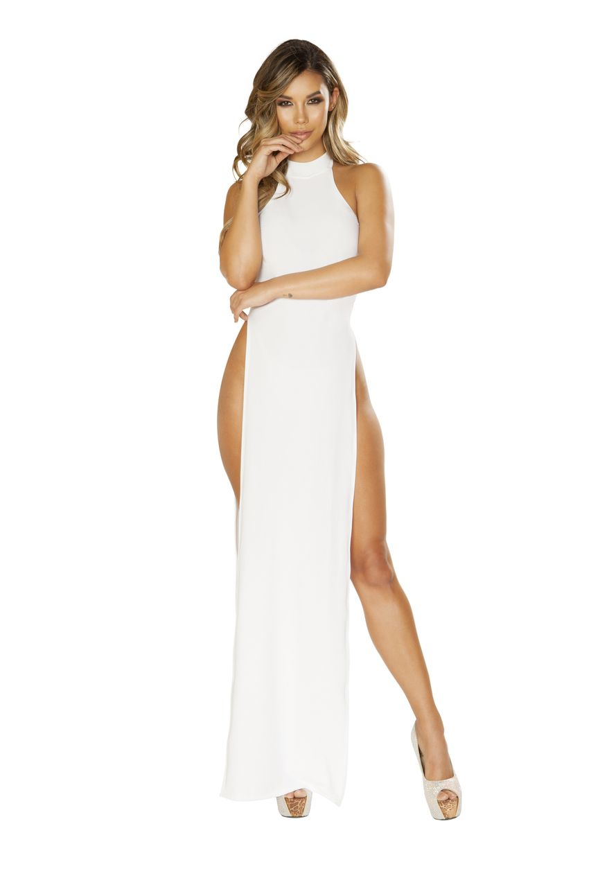 6ef593dbe5 Sexy Roma White High Halter Neck Double Waist High Side Slits Long Maxi  Dress Gown Clubwear Cocktail Party Small Medium Large