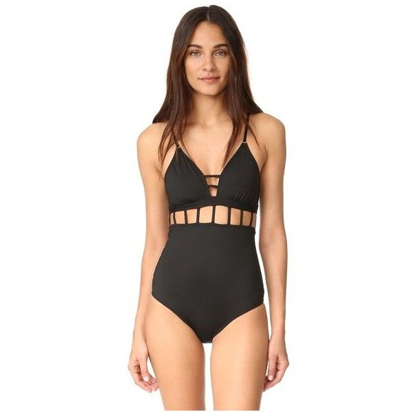 OndadeMar Every Day One Piece (£115) ❤ liked on Polyvore featuring swimwear, one-piece swimsuits, black, swim suits, one piece swimsuit, one piece bathing suits, one piece cutout bathing suit and swimsuit swimwear