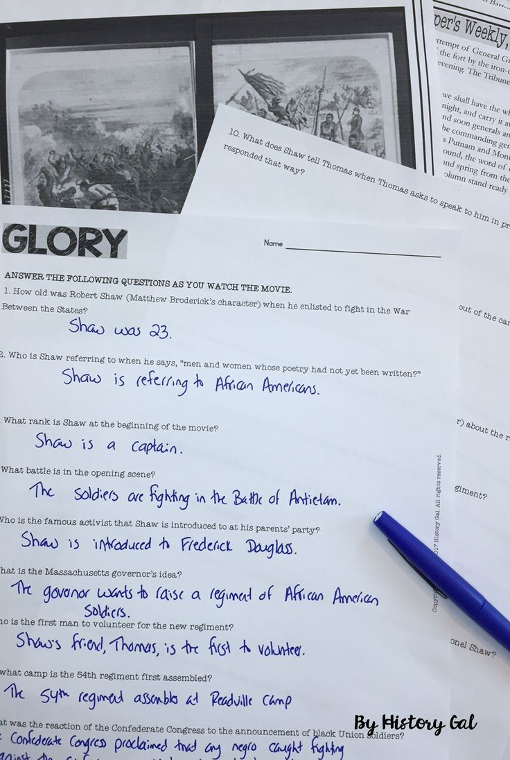 Glory Movie Guide Use this download with your 8th, 9th