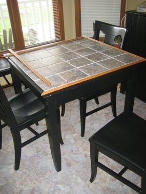 This Photo Shows The Flooring That I Laid As Well It Was The 12 Peel And Stick Linioleum Tiles But Looks Quit Dining Table Redo Tile Tables Tile Top Tables