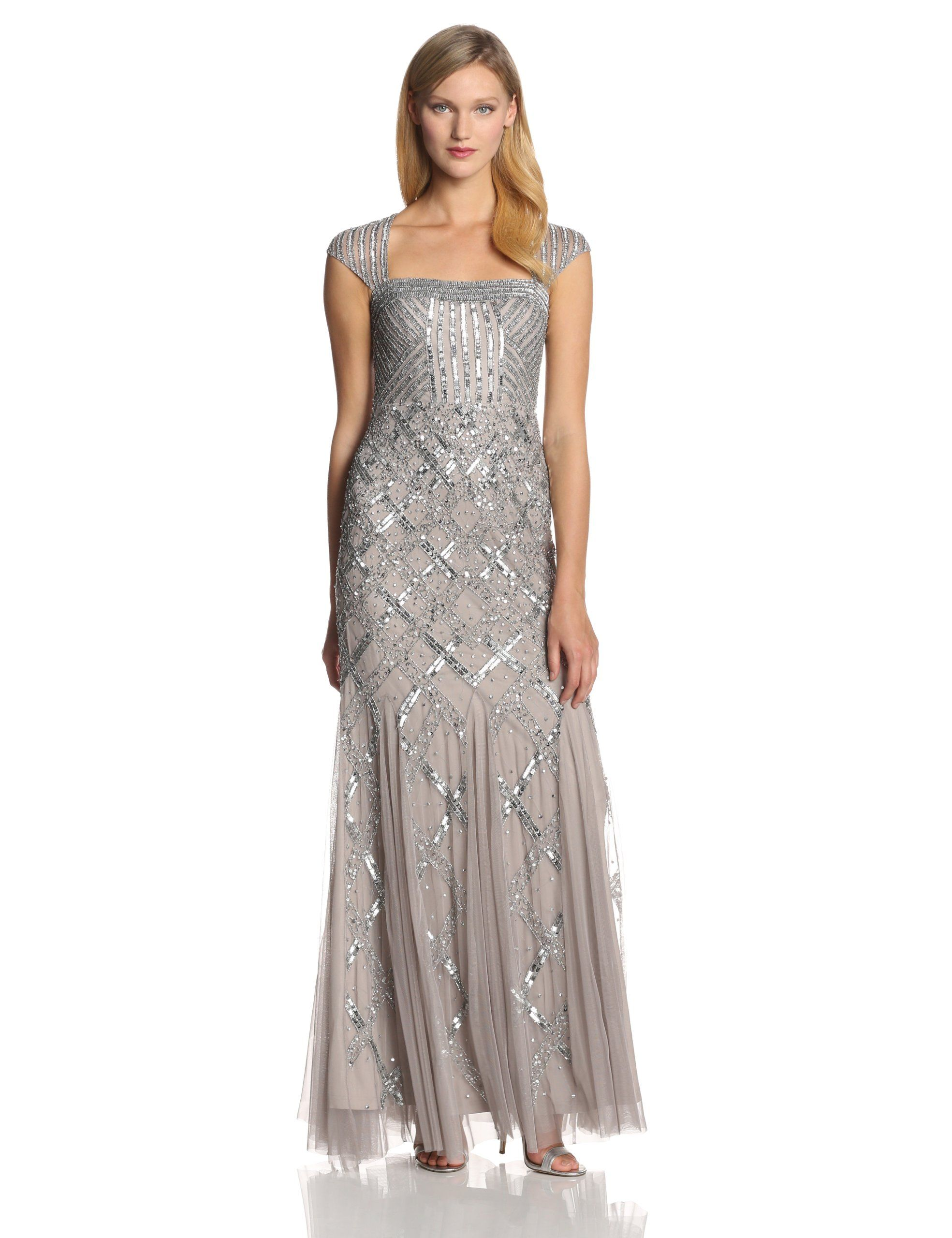 Adrianna papell womenus beaded gown with cap sleeves at amazon