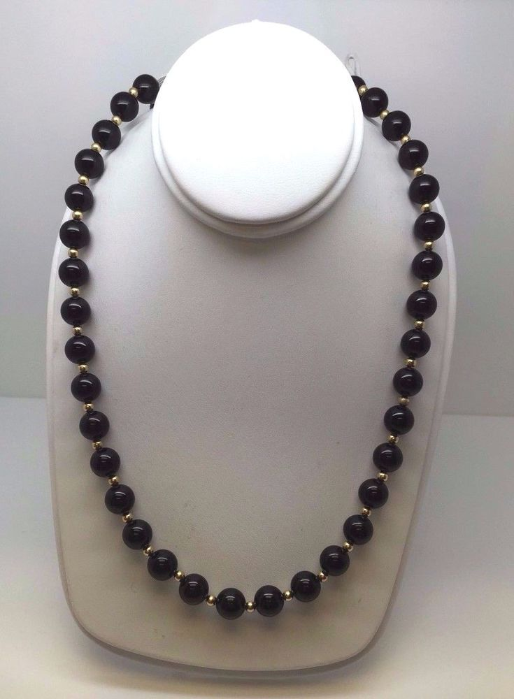 """14K Yellow Gold Chain Station 18/"""" Necklace With Genuine Black Onyx Round Balls"""
