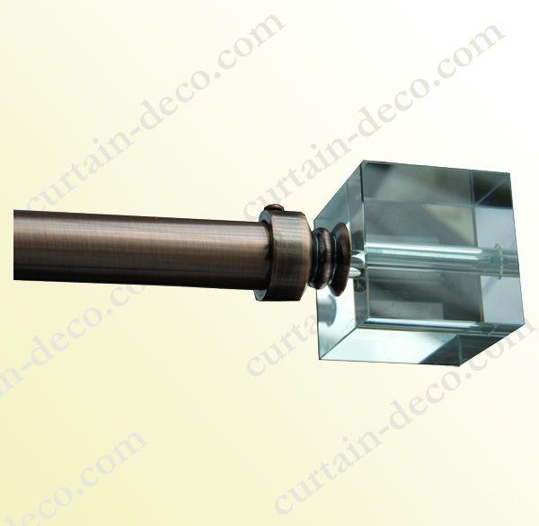 Ovo Crystal Glass Curtain Pole Head Finials Satin Silver