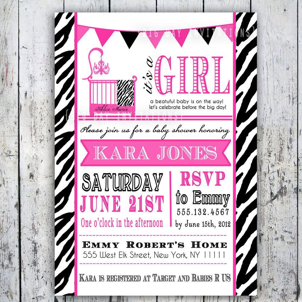 Safari Zebra Print Baby Shower Invitations, Printable Invite for ...