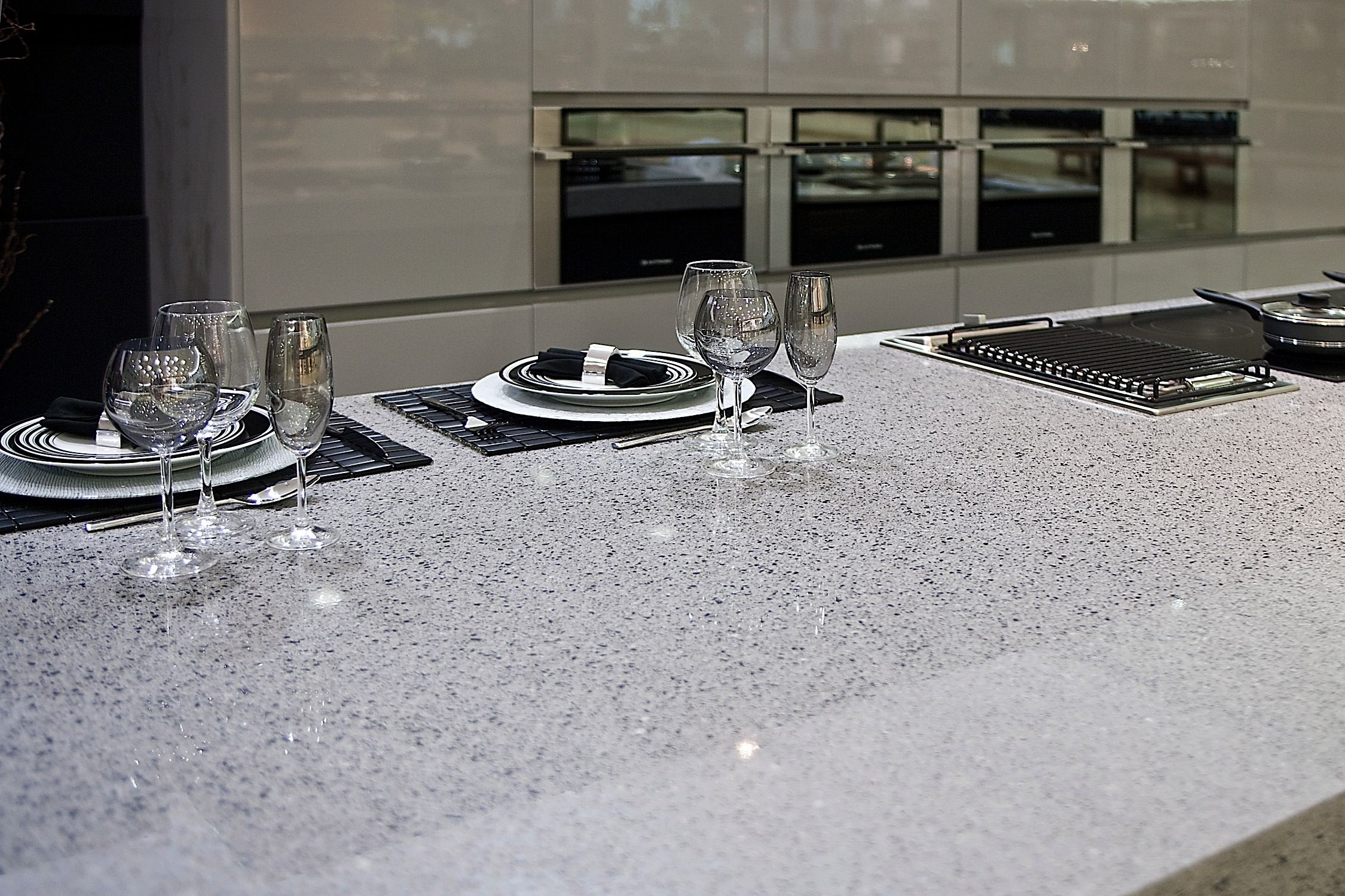 Silestone Quartz Counter Top In Chrome Kitchen