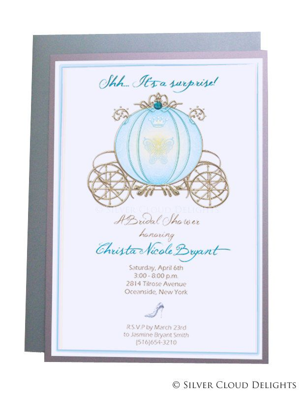 Bridal Shower Invitations With Rhinestone Stagecoach And Slipper Cinderella Invites Princess Invitation Wedding