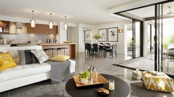 Casa de un piso moderna con hermosa fachada y dise o de for Diseno de interiores de salas y comedores pequenos