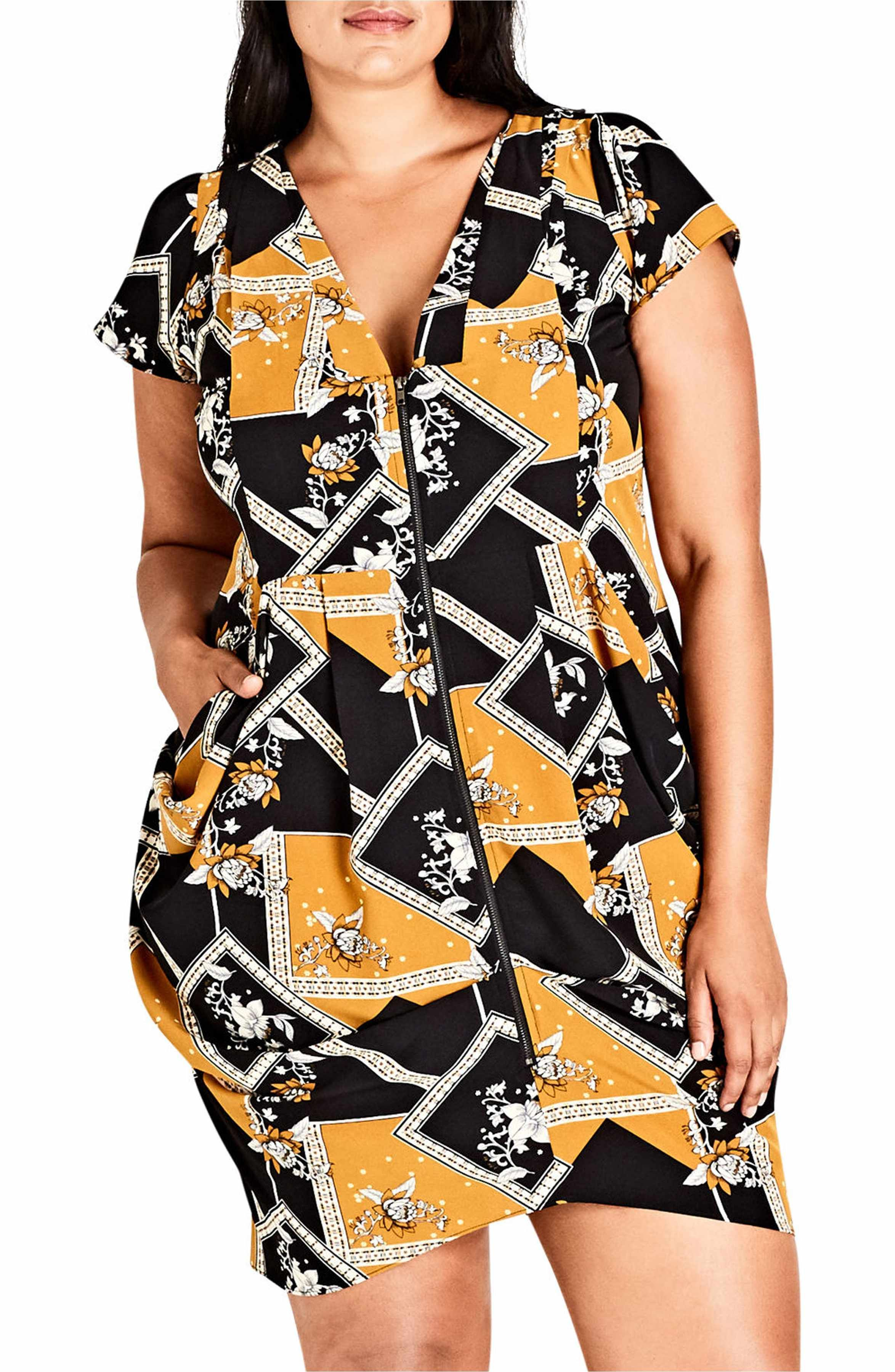 6fa7e37d0cf Main Image - City Chic Scarf Print Pleat Zip Front Tunic (Plus Size ...