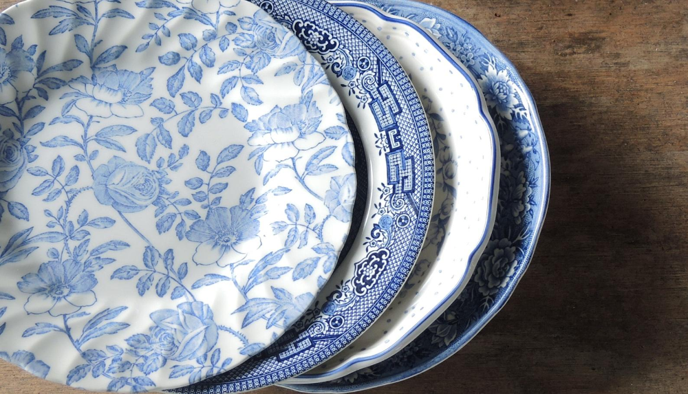 Mismatched Blue And White China Salad Plates Set Of 4 Dessert Plates Blue Transferware China Plates Bridal Luncheon Replacement China Blue And White China Blue Transferware White China Blue and white salad plates