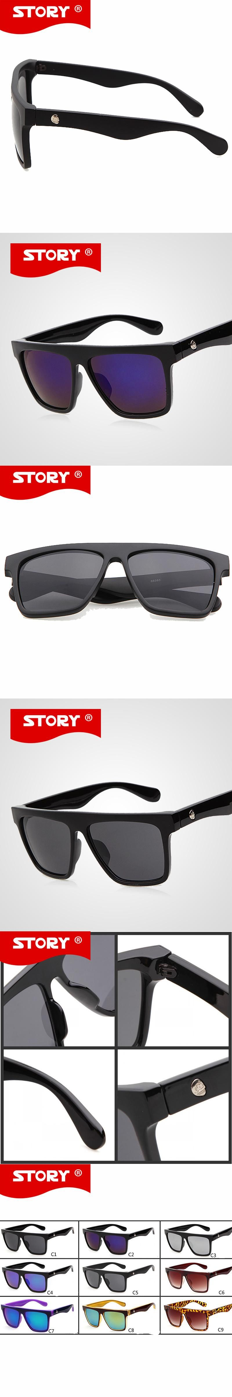 44c011073b7 STORY 2016 Retro Steampunk Square Sunglasses Mens Famous Brand SKULL Logo  Reflective Coating Big Frame Sun