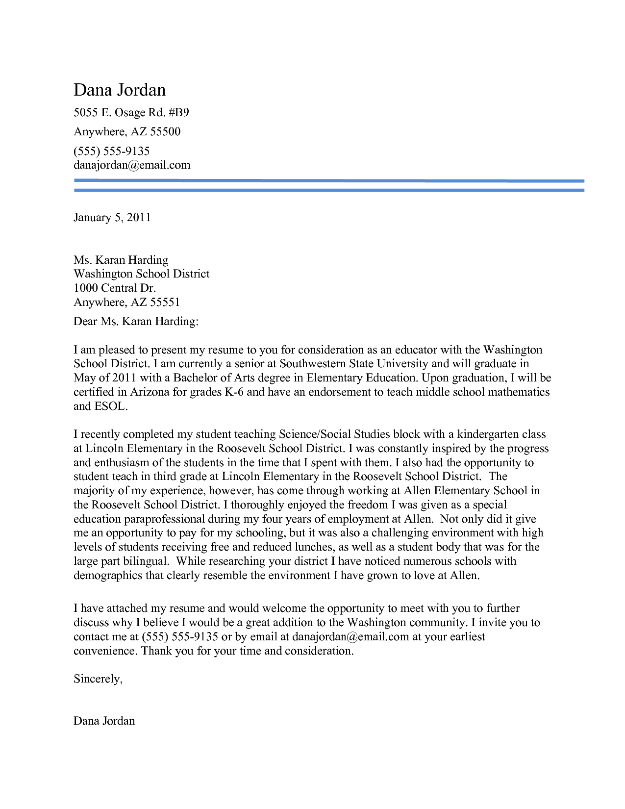 Docs Elementary Teacher Cover Letter Experience Examples For