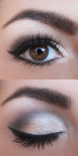 Apply matte white eye shadow all over lid as a base color, apply a beige eye shadow on outer half of lid, apply a dark brown/black eye shadow into the crease and outer V, blend together, line upper lash line with black liquid eyeliner and make a wing at out corner, apply liner thickly, line lower lash line/waterline with black eye liner and blend out with a brown eye shadow. Apply mascara.