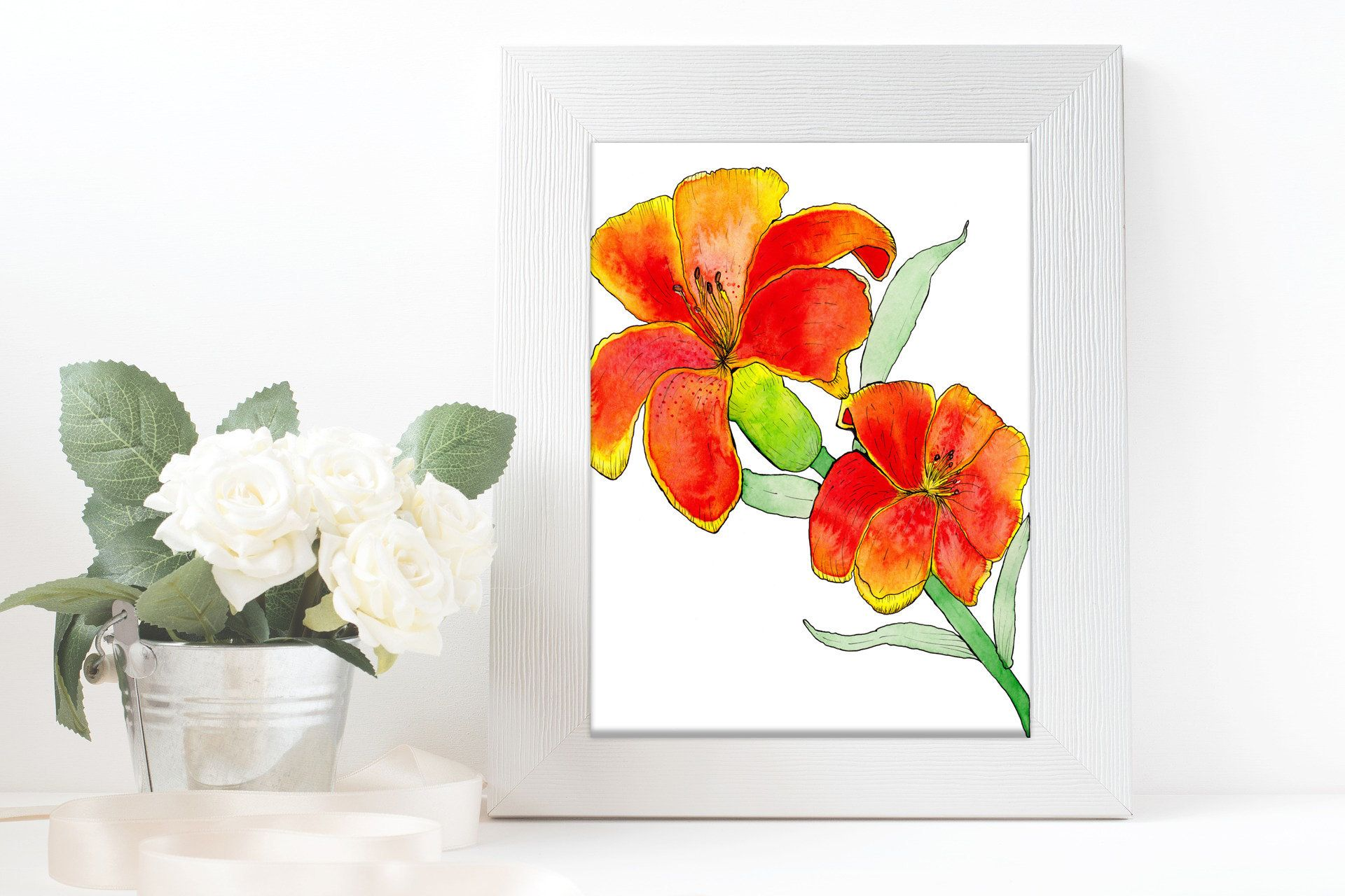 Watercolor Botanical Lily Lilies Flower Downloadable Print, Baby Girl Floral