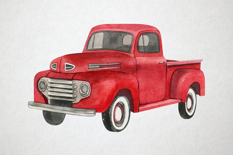 Watercolor Red Truck Clip Art Vintage Truck Illustration Etsy In 2021 Red Truck Clip Art Vintage Truck