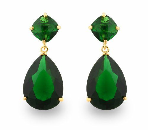 Jankuo Jewelry Gold Tone Angelina Jolie Inspired Artificial Gl Faux Emerald May Birthstone Drop Earrings With Gift Box 29 99