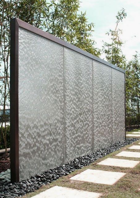Garden, Charming Outdoor Water Walls Design Ideas With Fancy Glass And  Elegant Frame Garden Waterfalls