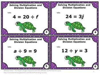Algebra Free Multiplication And Division Equations Common Core Math Task Cards Math Expressions Evaluating Expressions Math Division