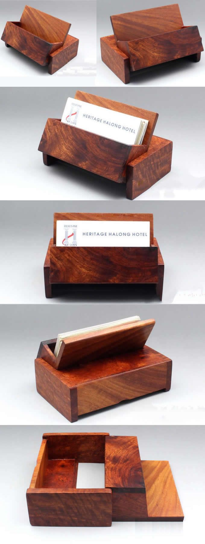 Nature Bamboo Wooden Business Card Holder Case | Office | Pinterest ...