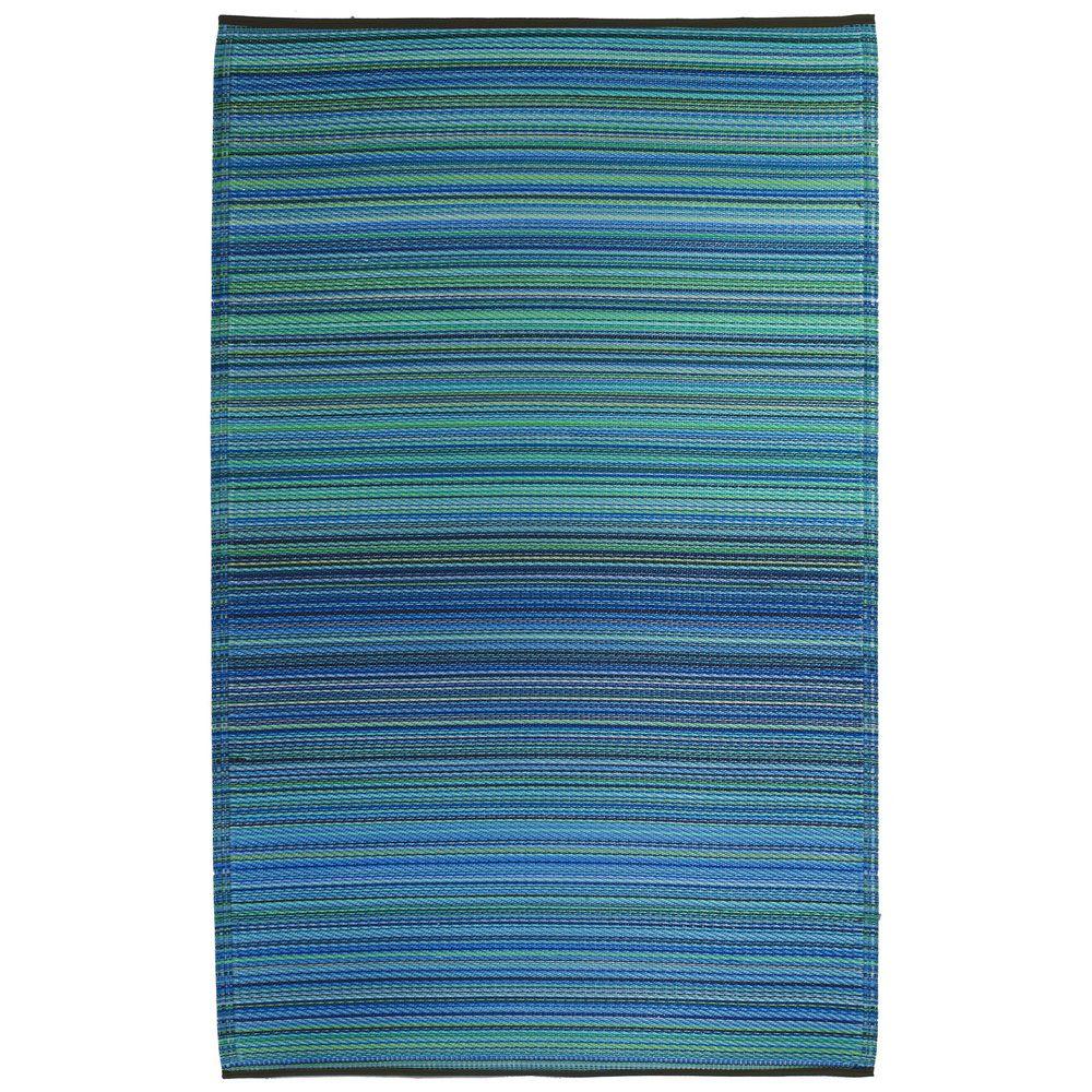 Prater Mills Indoor/ Outdoor Reversible Turquoise/ Green Rug | Overstock.com