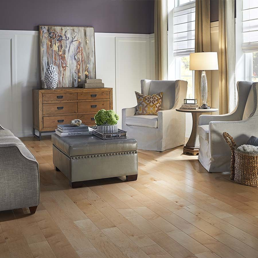 Try lightening up a purple room with neutral furniture and