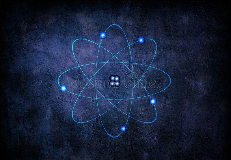 Atom On blue textured background