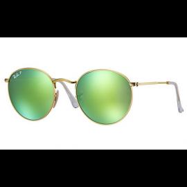 49e8f46eb8b4 Ray Ban RB3447 Round Flash Lenses sunglasses – Gold Frame   Green Flash Lens