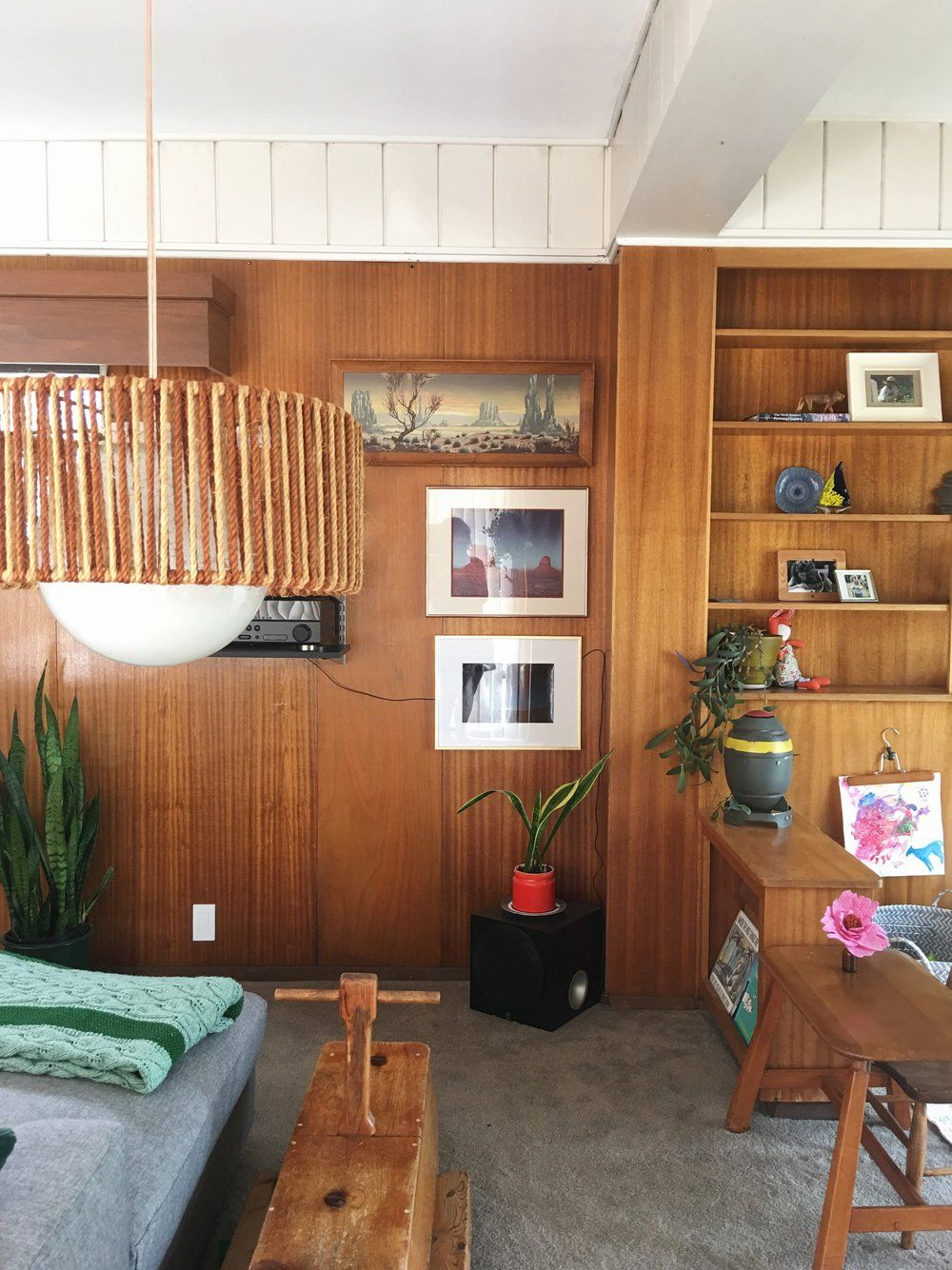 Wood Paneled Smoky Room: Cozy & Collected Mid-Century Modern Den: Embracing Dated