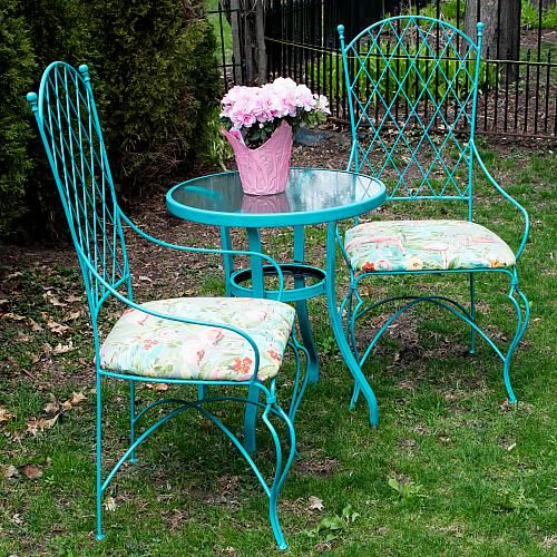 Vintage Wrought Iron Table And Chairs Living Room Modern Design Update Upcycle A Lovely Patio Set For Your Backyard Decoartprojects