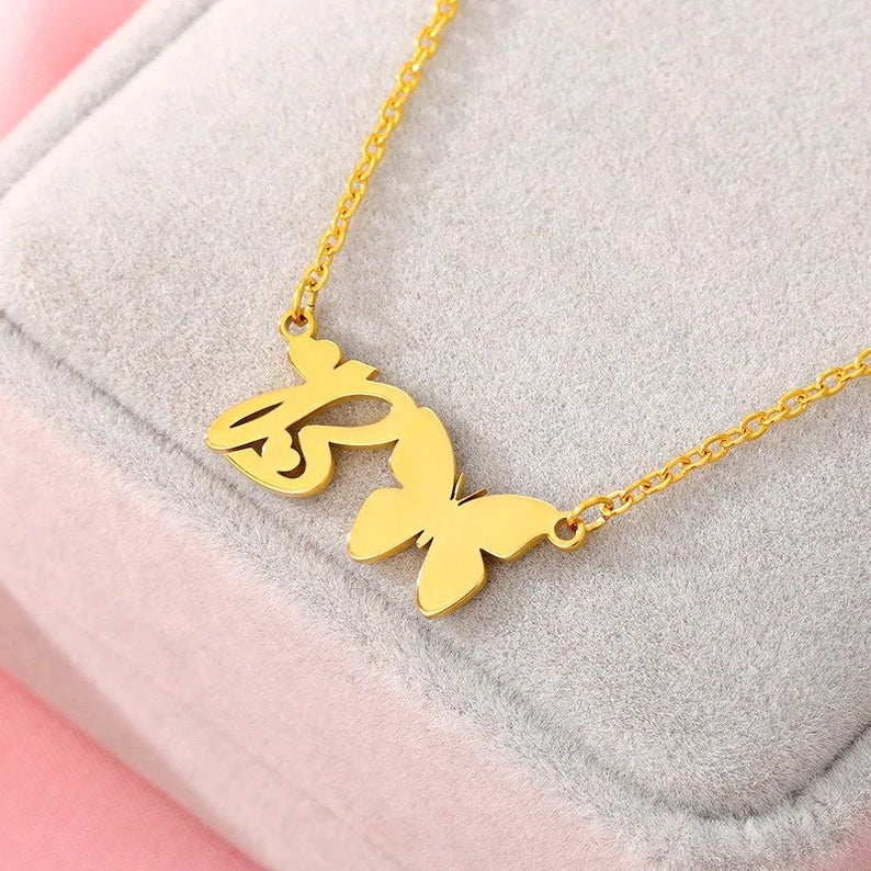 A Z Letter Necklace Initial Pendant Gold Personalized Necklace Butterfly Chokers Font Necklace Butterfly Necklace Love Necklace In 2021 Letter Necklace Initials Initial Necklace Letter Necklace