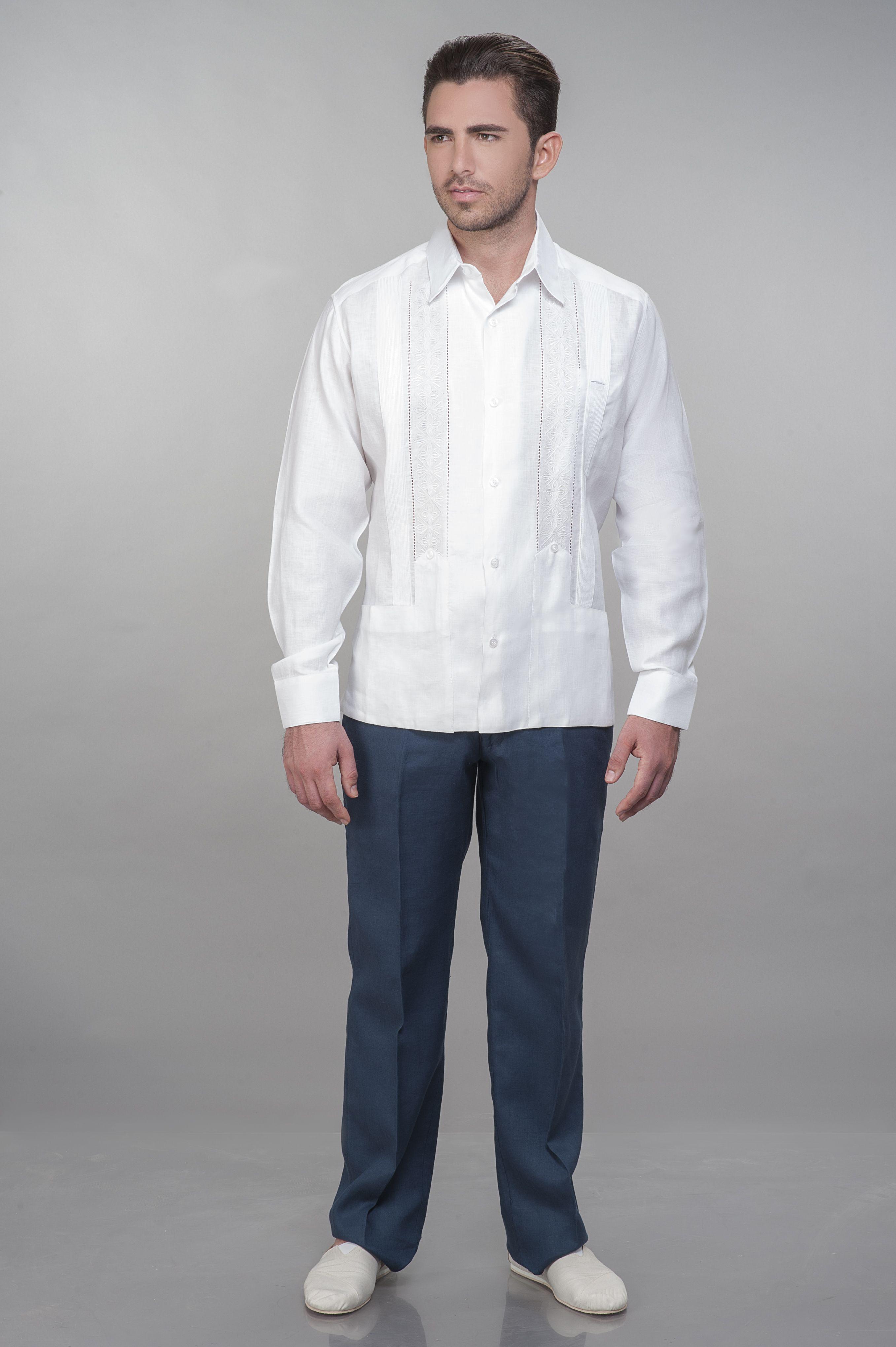 gran inventario nueva lanzamiento precios increibles Guayabera de lino blanco, manga larga, pantalón de lino azul ...