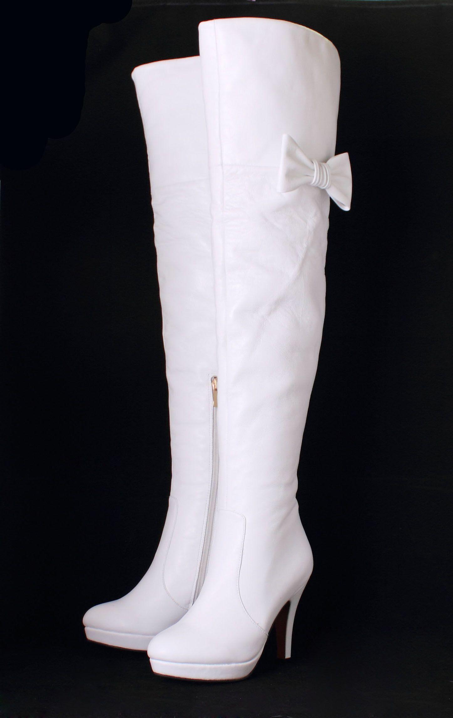 d1c56d3983019 de alta con lazo blanco botas blancas de tacón alto botas altas de ...