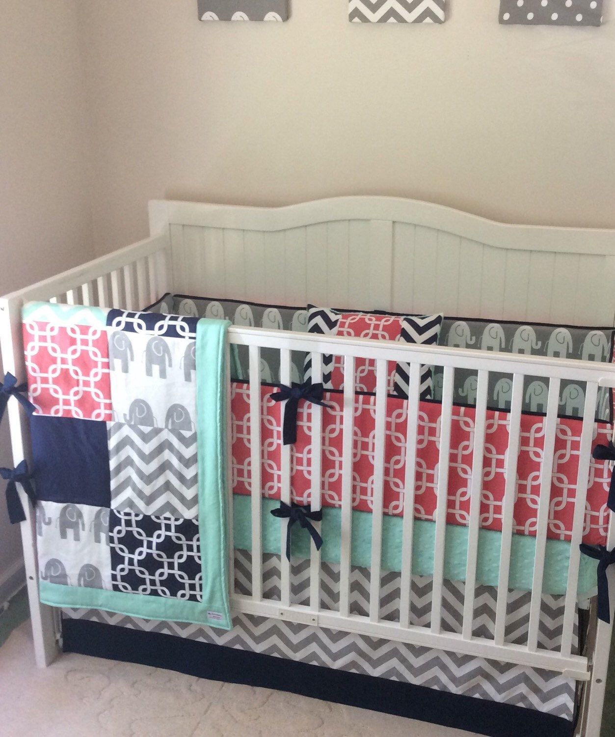 Crib bedding set gray white navy blue with by butterbeansboutique - Deposit Navy Mint And Coral Crib Bedding By Butterbeansboutique