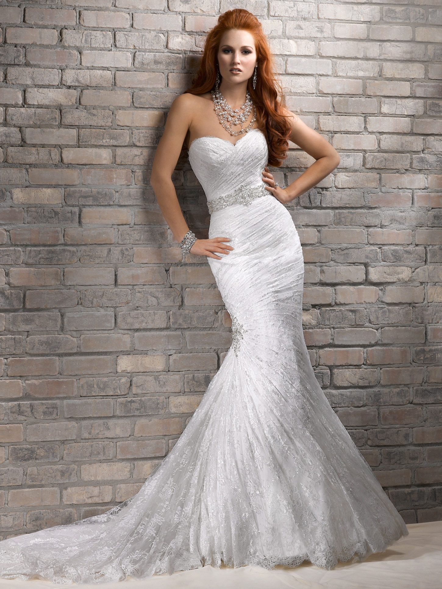 timeless mermaid wedding dress with strapless sweetheart bodice ...