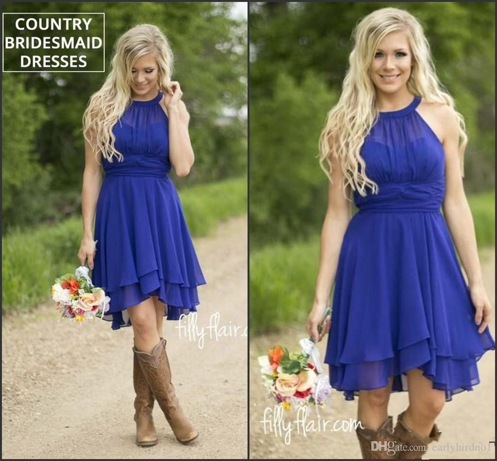 royal blue cheap short bridesmaid dresses halter neck flow