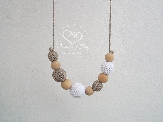 WHITE Gray Neutral Necklace 2014 Trend, White NURSING Necklace, Elegant Modern Mom and Baby Jewelry, Organic Linen Crochet teething Necklace