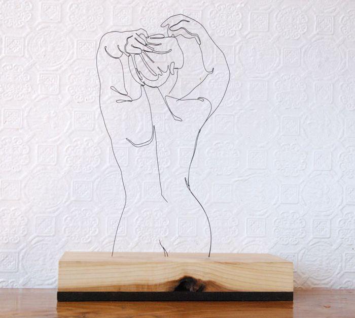 tegning med metaltråd - skulpturel tegning