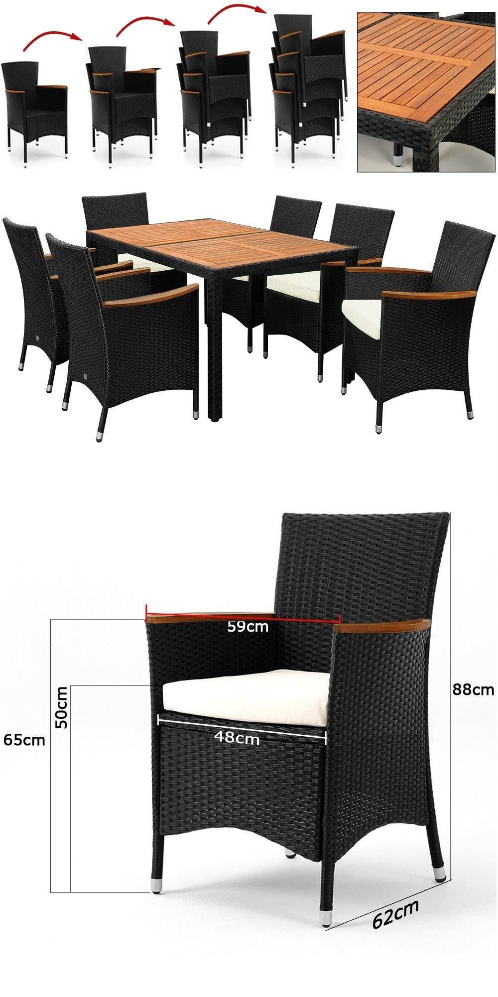 👍 Salon de jardin polyrotin extérieur meubles ensemble Table 6 ...