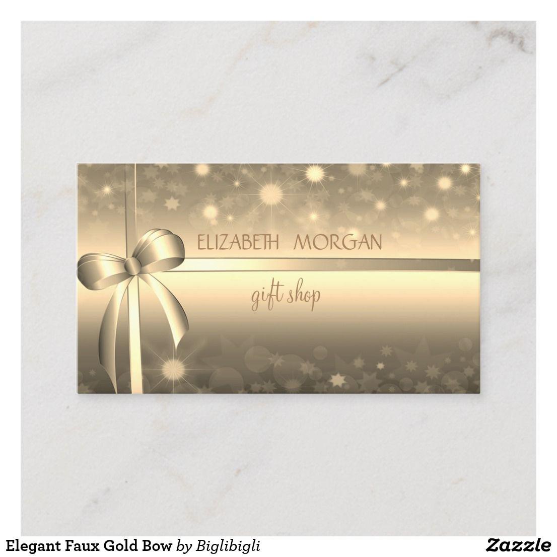 Elegant Faux Gold Bow Business Card Zazzle Com Elegant Business Cards Faux Bows