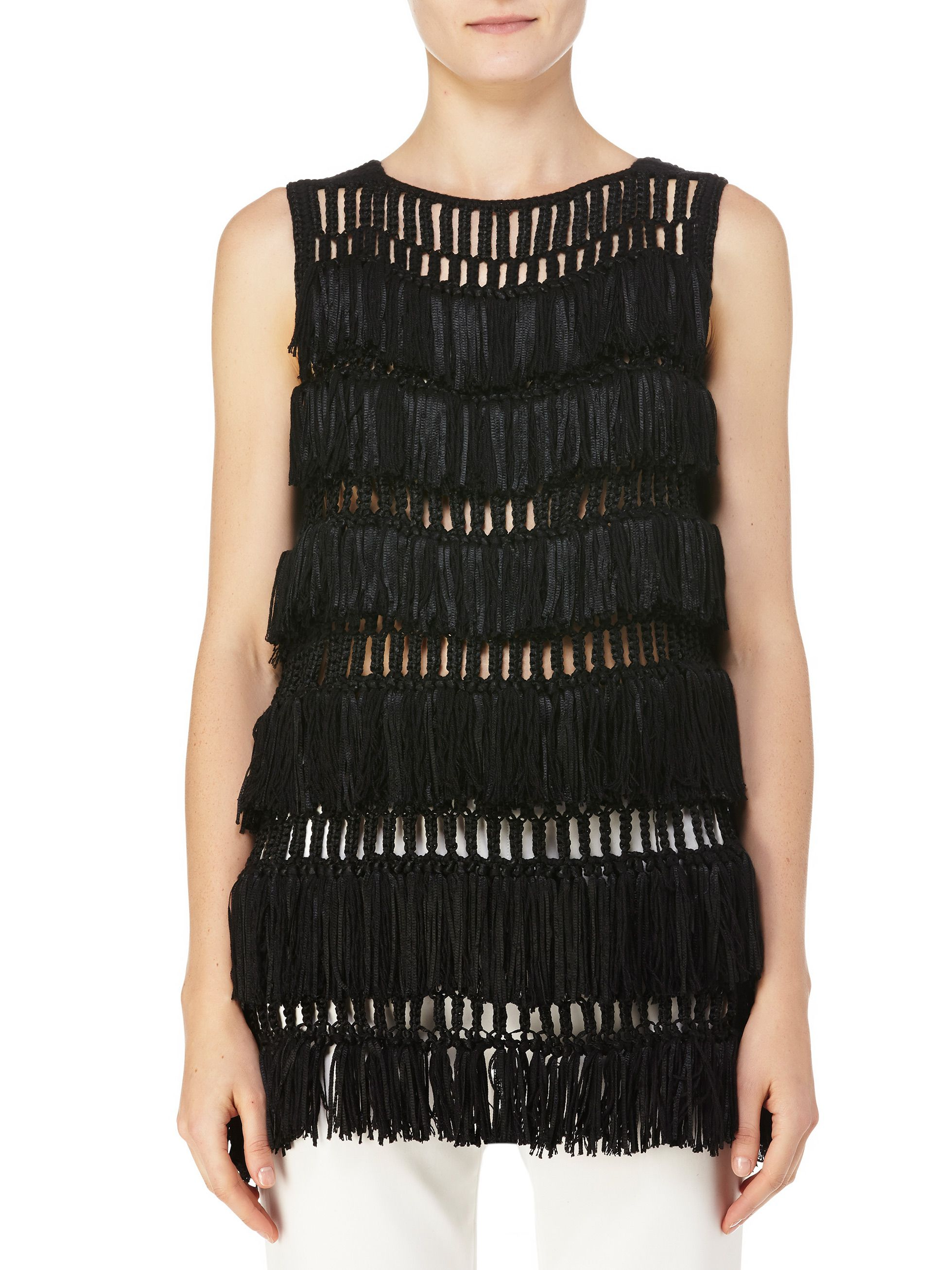 Sleeveless Fringed Tunic: Hand knit in Bolivia from cashmere-silk blend yarns.
