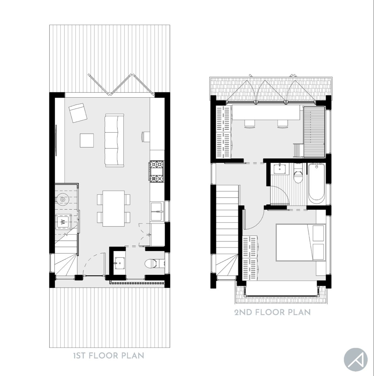 """Modern 2-Bedroom Compact Small House, 16' x 26' footprint only! 760 sf 2-story structure; 2 Beds & 1.5 Baths; 16'-0"""" W x 26'-0"""" D This is the smaller version of our previous Compact House plan, making this house even more affordable. #tinyhouseplans #homeplans #grannypods #smallhouseplans #tinyhomeslayout #tinyhome"""