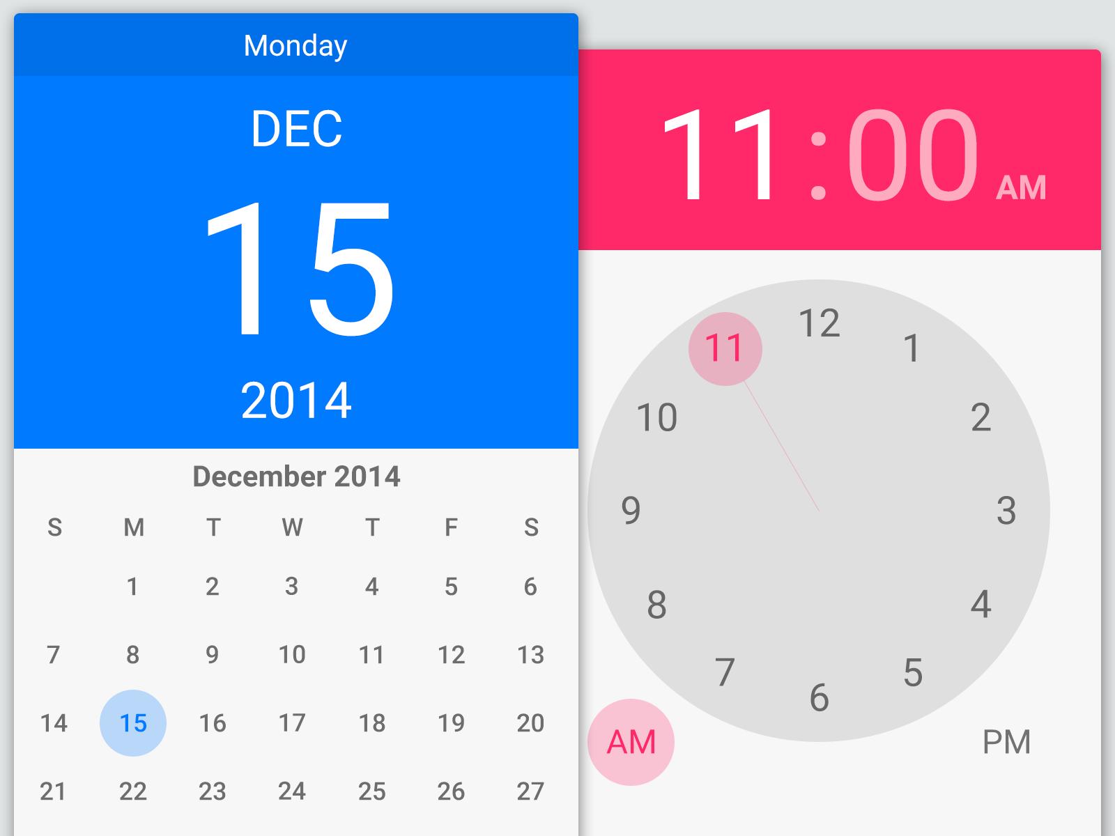 Calendar Material Design Javascript : Lollipop pickers material pinterest