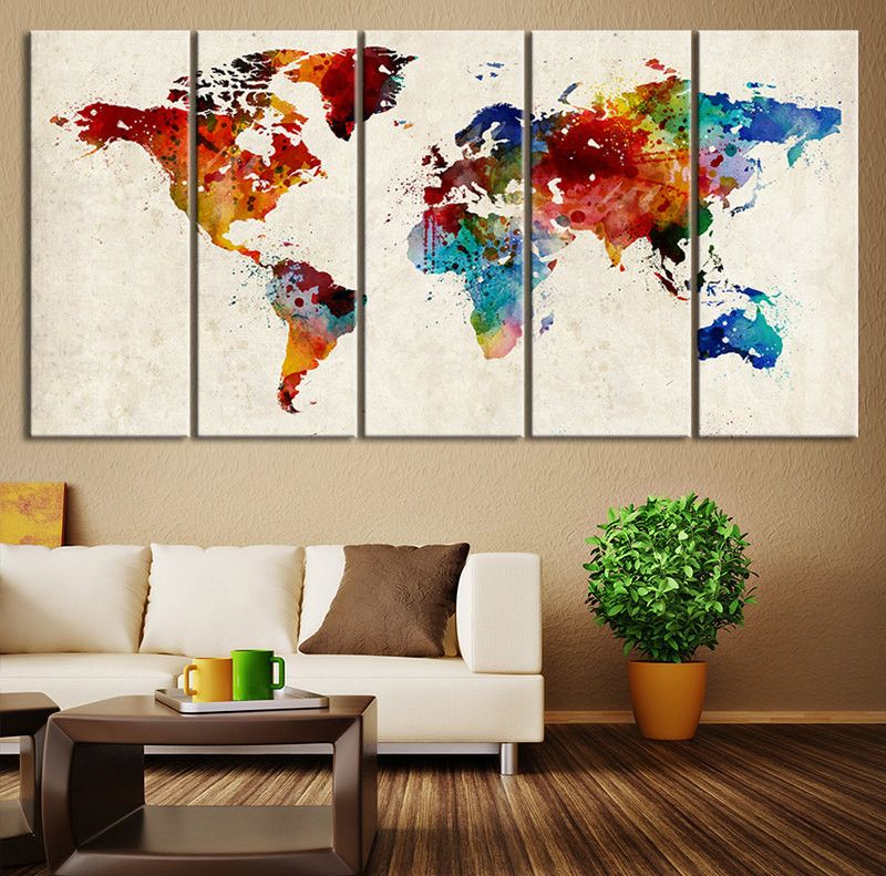 Large canvas art world map canvas art print large wall art world large canvas art world map canvas art print large wall art world map art extra large watercolor world map print for wall decor gumiabroncs Images
