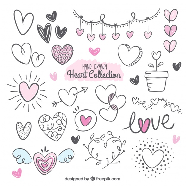 Download Download Fantastic Pack With Variety Of Hand-drawn Hearts ...