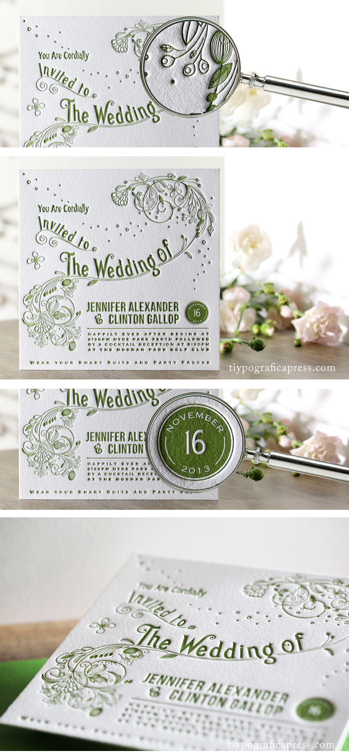 These stunning letterpress wedding invitations were designed from an ...
