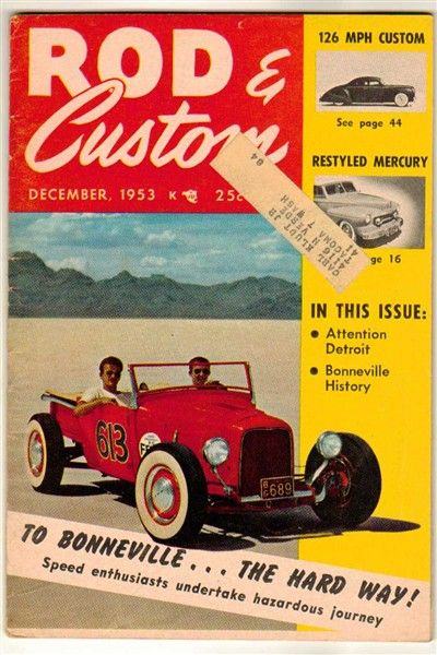 Rod & Custom Dec 1953 Vol 1 #8 Old Vintage Car Magazine Bonneville Ford Chevy