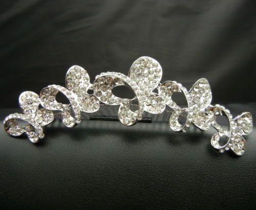 WBH119 Crystal Butterflies Tiara Crown Hair Comb Bridal Wedding Pageant Prom